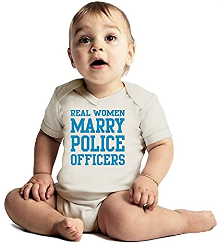 Real Women Marry Police Officers Funny Slogan Amazing Quality Baby Bodysuit by Benito Clothing - Made From 100% Organic Cotton- Super Soft V-Neck Style - Unisex Design- Perfect As A Present 3-6 months