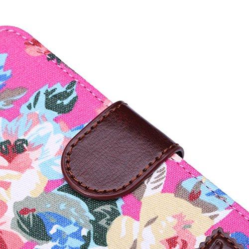 """inShang Hülle für Apple iPhone 6 iPhone 6S 4.7 inch iPhone6 iPhone6S 4.7"""", Cover Mit Modisch Klickschnalle + Errichten-in der Tasche + JEAN CLOTH PATTERN, Edles PU Leder Tasche Skins Etui Schutzhülle  flower cloth rose"""