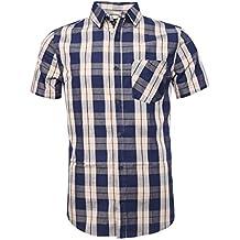 NUTEXROL Camicie da Uomo Camicie con Maniche Lunghe Scozzesi, Casual, comode e Moderne per L'Estate, Manica Corta, Vari Stili (Ogni Modello Ha 6 Taglie)