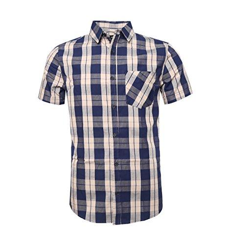 Nutexrol camicie da uomo camicie camicie a quadri, casual, comode e moderne per l'estate, maniche corte, blu scuro (maglia sottile), xl