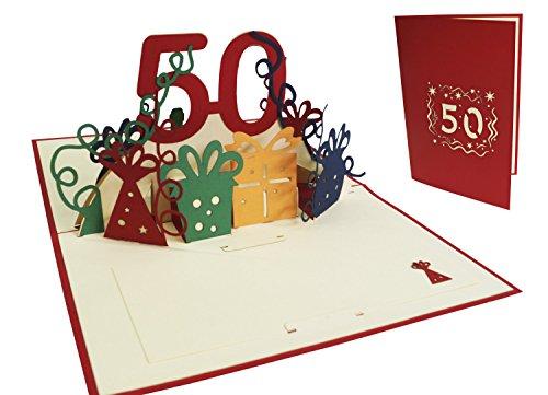 LIN POP UP 3D Glückwunschkarte, Geburtstagskarte 50. Geburtstag, 50 party, rot (Nr.20)