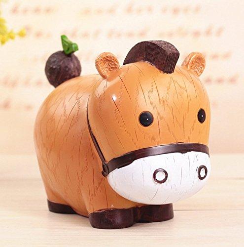 Banco de Dinero de Viaje Piggy Box Caja de Ahorro de Zodiaco de Dibujos Animados Regalo de decoración de Resina del día de los niños (Vaca pequeña)