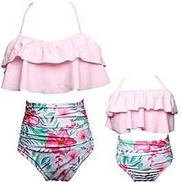 Qunlei Completo Bikini per Mamma e Figlia Costume da Bagno Due Pezzi a Vita Alta
