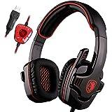 SADES SA901 Gaming Headset 7.1 Sonido envolvente estéreo Pro PC USB Gaming Auriculares Headband Auriculares con micrófono Deep Bass Over-the-Ear Control de volumen para los jugadores de PC (rojo)