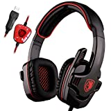 SADES SA901 Gaming Headset 7.1 Sonido envolvente estéreo Pro PC USB Gaming Auriculares Headband Auriculares con micrófono Deep Bass Over-the-Ear Control de volumen para los jugadores de PC (rojo)