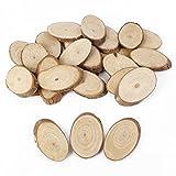 25 Oval Holzscheiben Baumscheiben Hänge-Etiketten Anhängeetiketten Hochzeit Basteln DIY