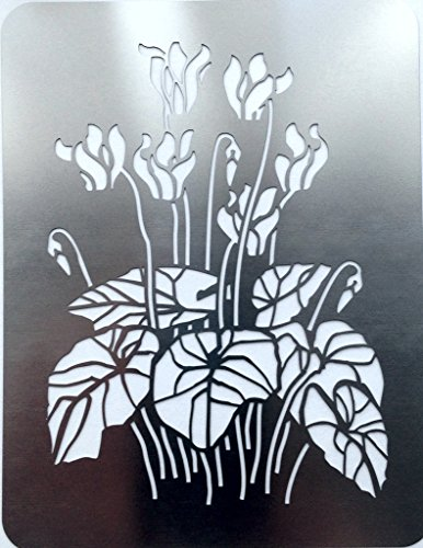 metal-monkey-cyclamen-winter-flower-stainless-steel-stencil-11cm-x-8cm