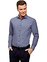 oodji Ultra Hombre Camisa Slim de Jacquard 4kqUL