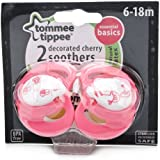 Tommee Tippee Essential Basics Decorated Cherry Soothers 6-18 months (2-pack)