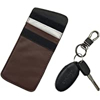 Gereton RFID Anti-GPS Car Signal Shielding Key Bag RFID Anti-Magnetic Anti-Theft Anti-Radiation Shielding Key Bag Car Key Shielding Blocking Cover Multi-Function Double Layer Key Bag