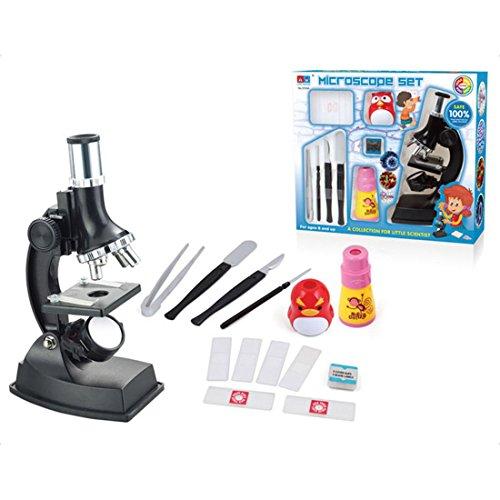 Foxom Microscopio Bambini, 14Pzs 100x - 900x Bambini Microscopio con Luci, Biologico Microscopio Esperimenti Scientifici Giochi per Bambino