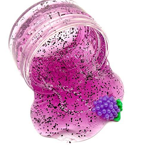 Dapei Traube Obst Scheibe Bunt Schleim Kinder Spaß Crazy Floam Schlamm Duft Entlastung Charme Langsam Steigende Simulation Lehm Spielzeug Glänzendes Geschenk, 80ml -