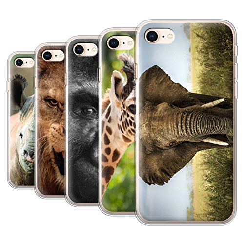 Stuff4 Gel TPU Hülle / Case für Apple iPhone 7 Plus / Frosch Muster / Wilde Tiere Kollektion Multipack Safari
