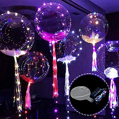 halonzhor Luftballons mit einschaltbaren LEDs, durchsichtig und zusammenfaltbar, 24 Zoll, ideal für Weihnachten, Hochzeiten, Halloween, Geburtstage, Dekoration für zu Hause 6PCS A Luftballons
