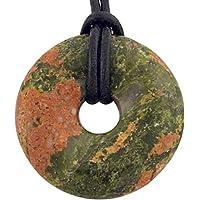 Unakit Epidot Donut 40 mm mit Lederband/Edelstein Anhänger rund preisvergleich bei billige-tabletten.eu