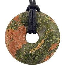 Unakit Epidot Donut 30 mm mit Lederband/Edelstein Anhänger rund