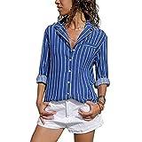 Overdose Blusa para Mujer OtoñO Primavera Mejor Venta De Moda Casual De Manga Larga Color Block Stripe Button Camisetas Tops (S, Azul-C)