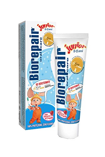 Biorepair - Dentifricio Junior, Con Estratto di Fragola, Zero Fluoro - 44 g 50 ml 22 Filtri