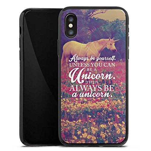 Apple iPhone X Silikon Hülle Case Schutzhülle Einhorn Unicorn Sprüche Silikon Case schwarz
