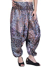 Exotic India Harem Satin Trousers With Printed Paisleys And Flowers