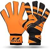 Nivia 1236 Blaze Synthetic Goalkeeper Gloves, Small (Orange/Black)