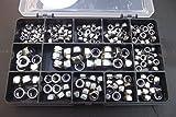 230assortiti Nyloc Nuts, A2–70in acciaio INOX, M3, M4, M5, M6e M8in una resistente scatola portaoggetti