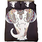 DOTBUY Bettbezug Set, 3 teilig bettwäsche 200 x 200cm 100% Polyester mikrofaser 3D Elefant gemütlich Printing bettbezug-Set. (weißer Elefant)