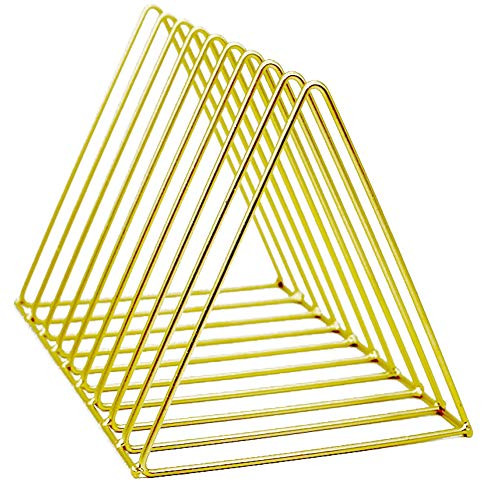 Yililay Triangle Datei Halter 9 Slots Tabletop Eisen Magazine Organizer für Office Home Geometric Buch-Rack