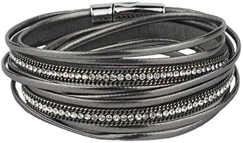 Feelinko Armband im Metallic-Leder-Design Armkettchen Armband Wickelarmband Armreif Damen Women grau