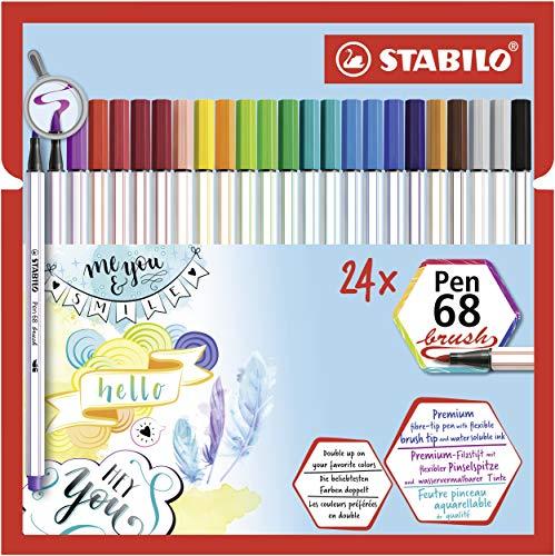 Premium-Filzstift mit Pinselspitze für variable Strichstärken - STABILO Pen 68 brush - 24er Pack - mit 19 verschiedenen Farben