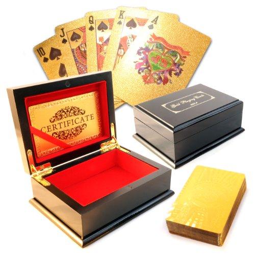 Poker Geschenkset Texas Hold'em im Hundert-Dollar-Noten Stil (Kartenrückseite), PVC-Karten im Gold-Design mit edler Holzschatulle (schwarz lackiert, Hochglanz) - Marke Ganzoo