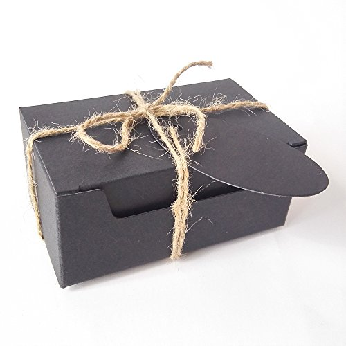 50PCS Soap Gift Wrapping Craft Cardboard Kraft Paper Box with Hemp and Tags (Rectangle Black Box With Black Tags)