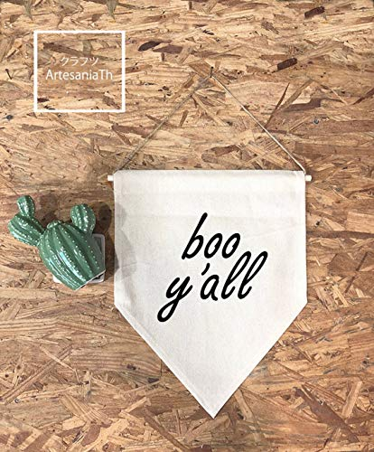 Boo Y'all Banner, Flag, Quote Banner Front Porch Halloween Decor Gifts For Her Farmhouse Housewarming Wall Art Banner Flag