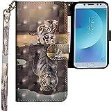 CLM-Tech kompatibel mit Samsung Galaxy J5 2017 Hülle, Tasche aus Kunstleder, Katze Tiger grau, PU Leder-Tasche für Galaxy J5 2017 Lederhülle