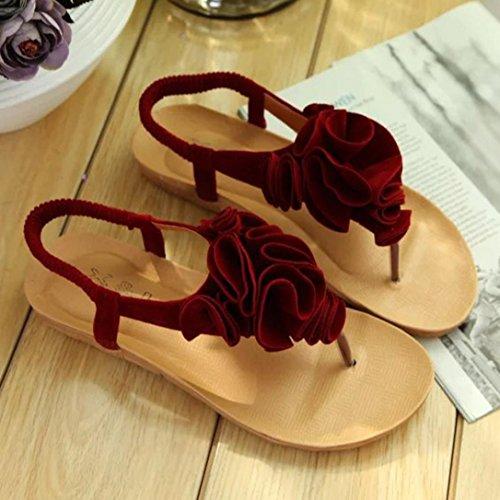 Koly_Scarpe Donna Summer Flower Boemia dolci dei sandali della punta della clip sandali della spiaggia Rosso