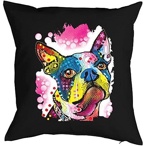 Almohada, funda de cojín, perros, decoración, funda para cojín con perros multicolores Portrait–Boston Terrier