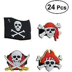 24 anillos de pirata para cumpleaños.
