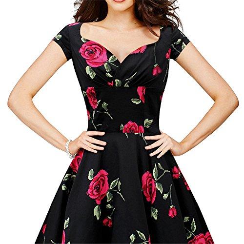 JOTHIN Damen 50er Retro Kleider Druck Partykleid Frauen Knielang Elegant Rockabilly Kleid Rot