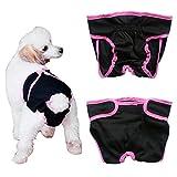 Septven Weiblich Hunde Schutzhose Haustier Unterhose Unterwäsche Welpenhose Hose Windel Hygieneunterhose Komfortabel, Atmungsaktiv (S, Schwarz)