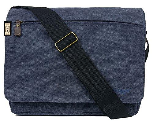 Seconds GFM -  Borsa Messenger classica in tessuto ideale per la scuola, per portare in  ufficio, in viaggio - Stile casual .Medium Size - Style 63 - Blue (#NL632)