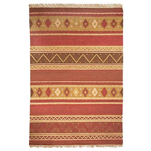 MonBeauTapis - 430200 - Alfombra de yute de color rojo Mouki Kilim, 200 x 140 cm.