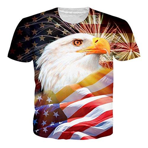 Bfustyle Unisex 3D Gedruckt Sommer Feuerwerk Adler Casual Kurzarm Ansatz Top T-Shirts T-Stücke (Adler T-shirt)