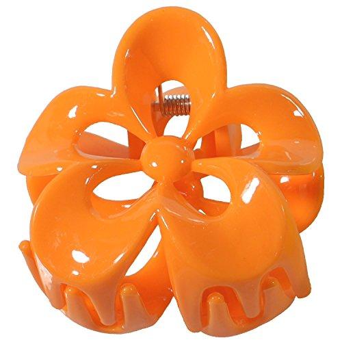 Pince Crabe à Cheveux en Plastique en forme de Fleur - Orange - 5,2 cm - Accessoire Coiffure