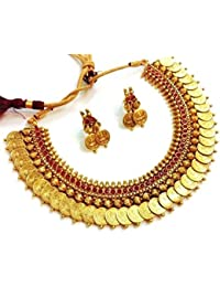 9945d292c Penny Jewels Alloy Party Wear Fashionable Stylish Temple Coin Necklace Set  With Earring For Women