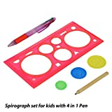 #6: Spirograph Set for Kids with 4 in 1 Pen & 1 Pencil, 6 Piece Set