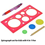 Generic Spirograph Set For Kids With 4 In 1 Pen & 1 Pencil, 6 Piece Set