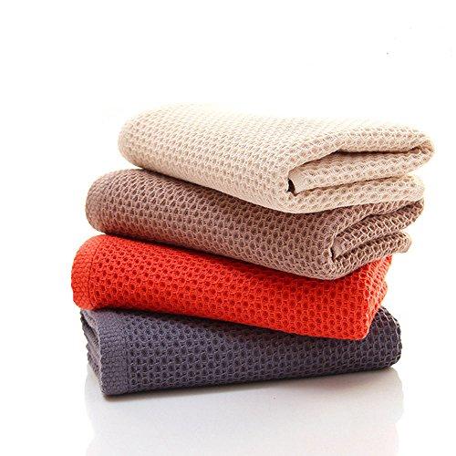 Hotel Waschlappen (CHRISLZ 4er Pack 100% Baumwollhandtücher Pure Farbe Handtuch Wabenform Waschlappen Premium Hotel Face Towels, 4 Farben (rot, grau, braun, beige))