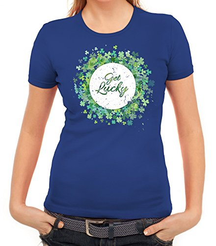 ShirtStreet Irland Paddy Saint St. Patrick's Day Partner Gruppen Damen T-Shirt Get Lucky Royal Blau