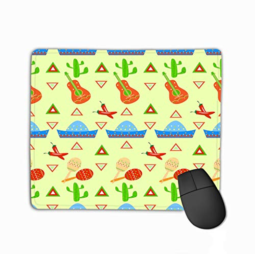ico Pattern Triangle Maracas Lovely Rectangle Rubber Mousepad 11.81 X 9.84 Inch ()