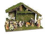 Vetrineinrete Capanna in Legno per Natale con Muschio presepe con Scala con natività Statue statuine re Magi pastori 10 Pezzi Decorazioni Natalizie 47053 A65